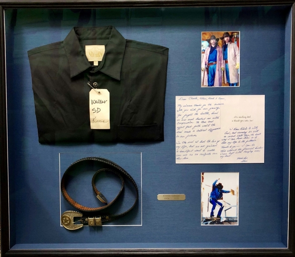 Kinnie Gibson's shirt, belt, letter to Aldous \ Walker LLP, and photos of the stuntman in action.
